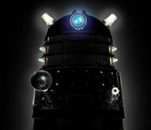 The top half of a Dalek against black
