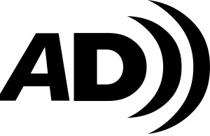 Audio Description Logo. The Letter A and D followed by sound waves