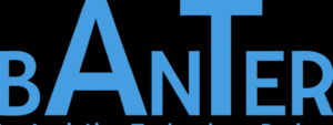 The Assistive Technology Banter podcast logo. High contrast the uppercase letters spell Banter, with the A and the T significantly larger within the word.